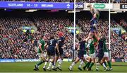 9 February 2019; Peter O'Mahony of Ireland wins the line-out ahead of Jamie Ritchie of Scotland during the Guinness Six Nations Rugby Championship match between Scotland and Ireland at the BT Murrayfield Stadium in Edinburgh, Scotland. Photo by Brendan Moran/Sportsfile