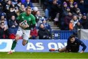 9 February 2019; Keith Earls of Ireland scores his side's try during the Guinness Six Nations Rugby Championship match between Scotland and Ireland at the BT Murrayfield Stadium in Edinburgh, Scotland. Photo by Ramsey Cardy/Sportsfile