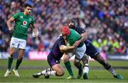 9 February 2019; Josh van der Flier of Ireland is tackled by Jamie Ritchie, left, and Josh Strauss of Scotland during the Guinness Six Nations Rugby Championship match between Scotland and Ireland at the BT Murrayfield Stadium in Edinburgh, Scotland. Photo by Brendan Moran/Sportsfile