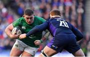 9 February 2019; Tadhg Furlong of Ireland is tackled by Rob Harley of Scotland during the Guinness Six Nations Rugby Championship match between Scotland and Ireland at the BT Murrayfield Stadium in Edinburgh, Scotland. Photo by Brendan Moran/Sportsfile