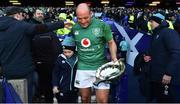 9 February 2019; Ireland captain Rory Best and his son Ben with the Centenary Quaich after the Guinness Six Nations Rugby Championship match between Scotland and Ireland at the BT Murrayfield Stadium in Edinburgh, Scotland. Photo by Brendan Moran/Sportsfile