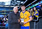 9 February 2019; Denis O'Callaghan, Head of Retail Banking, presents Liam Carey of Beaufort with the Man of the Match award for his outstanding performance in the AIB GAA All-Ireland Junior Football Club Championship Final match between Beaufort and Easkey at Croke Park in Dublin on Saturday, February 9th. For exclusive content and behind the scenes action follow AIB GAA on Facebook, Twitter, Instagram, Snapchat and on www.aib.ie/gaa. Photo by Piaras Ó Mídheach/Sportsfile