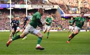 9 February 2019; Keith Earls of Ireland runs in his side's third try during the Guinness Six Nations Rugby Championship match between Scotland and Ireland at the BT Murrayfield Stadium in Edinburgh, Scotland. Photo by Brendan Moran/Sportsfile