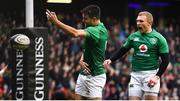 9 February 2019; Conor Murray of Ireland celebrates after scoring his side's first try during the Guinness Six Nations Rugby Championship match between Scotland and Ireland at the BT Murrayfield Stadium in Edinburgh, Scotland. Photo by Brendan Moran/Sportsfile