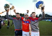 9 February 2019; Darragh Burke, centre, and team-mates Gary Moylan, left, and Michael Fallon celebrate following the AIB GAA Hurling All-Ireland Senior Championship Semi-Final match between St Thomas' and Ruairí Óg at Parnell Park in Dublin. Photo by David Fitzgerald/Sportsfile
