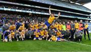 9 February 2019; Fergal Hallissey of Beaufort jumps in to celebrate with team-mates after the AIB GAA Football All-Ireland Junior Championship Final match between Beaufort and Easkey at Croke Park in Dublin. Photo by Piaras Ó Mídheach/Sportsfile