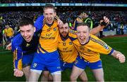 9 February 2019; Beaufort players, from left, Jonathan Kissane, Ronan Ferris, Pádraig Doona, and Danny Healy celebrate after the AIB GAA Football All-Ireland Junior Championship Final match between Beaufort and Easkey at Croke Park in Dublin. Photo by Piaras Ó Mídheach/Sportsfile