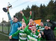 9 February 2019; Dublin players celebrate with the cup after the Confederation of Republic of Ireland Supporters Clubs Cup at Leah Victoria Park in Tullamore Town FC, Offaly. Photo by Eóin Noonan/Sportsfile