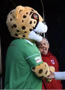 9 February 2019; Cork City manager John Caulfield and Cork City mascot Corky The Cheetah prior to the 2019 President's Cup Final between Cork City and Dundalk at Turners Cross in Cork. Photo by Stephen McCarthy/Sportsfile