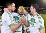9 February 2019; Ballyhale Shamrocks players, from left, Michael Fennelly, Mark Aylward and Colin Fennelly celebrate after the AIB GAA Hurling All-Ireland Senior Championship semi-final match between Ballyhale Shamrocks and Ballygunner at Semple Stadium in Thurles, Tipperary. Photo by Matt Browne/Sportsfile
