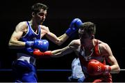 9 February 2019; Matthew McCole, left, in action against Keith Flavin during their 63kg bout during the 2019 National Elite Men's & Women's Elite Boxing Championships at the National Stadium in Dublin. Photo by David Fitzgerald/Sportsfile
