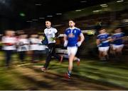 9 February 2019; Raymond Galligan, left, and Niall Murray of Cavan make their way to the field prior to the Allianz Football League Division 1 Round 3 match between Mayo and Cavan at Elverys MacHale Park in Castlebar, Mayo. Photo by Seb Daly/Sportsfile