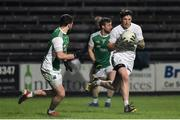 9 February 2019; David Slattery of Kildare in action against James McMahon of Fermanagh during the Allianz Football League Division 2 Round 3 match between Fermanagh and Kildare at Brewster Park in Enniskillen, Fermanagh. Photo by Oliver McVeigh/Sportsfile