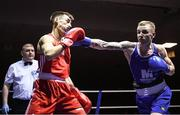 9 February 2019; Dean Walsh, right, in action against Aidan Walsh in their 69kg bout during the 2019 National Elite Men's & Women's Elite Boxing Championships at the National Stadium in Dublin. Photo by David Fitzgerald/Sportsfile
