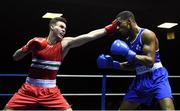 9 February 2019; Michael Nevin, left, in action against Gabriel Dossen in their 75kg bout during the 2019 National Elite Men's & Women's Elite Boxing Championships at the National Stadium in Dublin. Photo by David Fitzgerald/Sportsfile