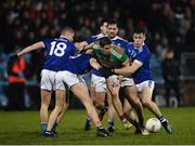 9 February 2019; Lee Keegan of Mayo in action against Cavan's Stephen Murray, Paul Graham and Dara McVeety during the Allianz Football League Division 1 Round 3 match between Mayo and Cavan at Elverys MacHale Park in Castlebar, Mayo. Photo by Seb Daly/Sportsfile