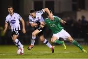 9 February 2019; Michael Duffy of Dundalk in action against James Tilley of Cork City during 2019 President's Cup Final between Cork City and Dundalk at Turners Cross in Cork. Photo by Stephen McCarthy/Sportsfile