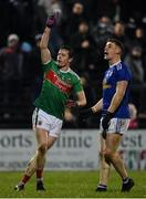 9 February 2019; Stephen Coen of Mayo turns to celebrate after kicking a point, only to see it ruled as a wide, during the Allianz Football League Division 1 Round 3 match between Mayo and Cavan at Elverys MacHale Park in Castlebar, Mayo. Photo by Seb Daly/Sportsfile