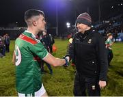 9 February 2019; Mayo manager James Horan and James McCormack shake hands following the Allianz Football League Division 1 Round 3 match between Mayo and Cavan at Elverys MacHale Park in Castlebar, Mayo. Photo by Seb Daly/Sportsfile