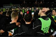 9 February 2019; Kerry manager Peter Keane speaks to his players after the Allianz Football League Division 1 Round 3 match between Kerry and Dublin at Austin Stack Park in Tralee, Co. Kerry. Photo by Diarmuid Greene/Sportsfile