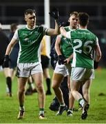 9 February 2019; Conal Jones and Ciaran McBrien of Fermanagh celebrate after the Allianz Football League Division 2 Round 3 match between Fermanagh and Kildare at Brewster Park in Enniskillen, Fermanagh. Photo by Oliver McVeigh/Sportsfile