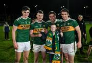 9 February 2019; Kerry players Sean O'Shea, Tom O'Sullivan, Adrian Spillane and Stephen O'Brien with Kerry supoporter, and Late Late Toy Show star, Michael O'Brien, aged 11, after the Allianz Football League Division 1 Round 3 match between Kerry and Dublin at Austin Stack Park in Tralee, Co. Kerry. Photo by Diarmuid Greene/Sportsfile