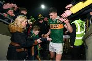 9 February 2019; Sean O'Shea of Kerry is greeted by Kerry supoporter, and Late Late Toy Show star, Michael O'Brien, aged 11, after the Allianz Football League Division 1 Round 3 match between Kerry and Dublin at Austin Stack Park in Tralee, Co. Kerry. Photo by Diarmuid Greene/Sportsfile