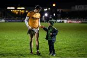 9 February 2019; Kerry goalkeeper Shane Ryan gives his kicking tee to Kerry supporter Gary Parker, aged 8, during the Allianz Football League Division 1 Round 3 match between Kerry and Dublin at Austin Stack Park in Tralee, Co. Kerry. Photo by Diarmuid Greene/Sportsfile