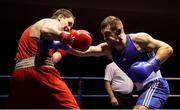 9 February 2019; Karol Dlugosz, right, in action against Geoffrey Kavanagh in their 91kg bout during the 2019 National Elite Men's & Women's Elite Boxing Championships at the National Stadium in Dublin. Photo by David Fitzgerald/Sportsfile