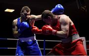 9 February 2019; Karol Dlugosz, left, in action against Geoffrey Kavanagh in their 91kg bout during the 2019 National Elite Men's & Women's Elite Boxing Championships at the National Stadium in Dublin. Photo by David Fitzgerald/Sportsfile