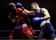 9 February 2019; Danny O'Brien, right, in action against Kenneth Okungbowa in their 91kg bout during the 2019 National Elite Men's & Women's Elite Boxing Championships at the National Stadium in Dublin. Photo by David Fitzgerald/Sportsfile