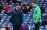 9 February 2019; Ireland head coach Joe Schmidt, left, and Jonathan Sexton prior to the Guinness Six Nations Rugby Championship match between Scotland and Ireland at the BT Murrayfield Stadium in Edinburgh, Scotland. Photo by Brendan Moran/Sportsfile
