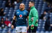 9 February 2019; Ireland captain Rory Best, left, and Jonathan Sexton prior to the Guinness Six Nations Rugby Championship match between Scotland and Ireland at the BT Murrayfield Stadium in Edinburgh, Scotland. Photo by Brendan Moran/Sportsfile