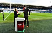 9 February 2019; Virgin Media presenter Sinead Kissane speaks to analyst Shane Horgan prior to the Guinness Six Nations Rugby Championship match between Scotland and Ireland at the BT Murrayfield Stadium in Edinburgh, Scotland. Photo by Brendan Moran/Sportsfile