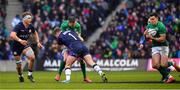 9 February 2019; Jonathan Sexton of Ireland is tackled by Allan Dell of Scotland as he offloads a pass to team-mate Jacob Stockdale, who went on to score his side's second try from this move, during the Guinness Six Nations Rugby Championship match between Scotland and Ireland at the BT Murrayfield Stadium in Edinburgh, Scotland. Photo by Brendan Moran/Sportsfile