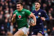 9 February 2019; Jacob Stockdale of Ireland races clear to score his side's second try during the Guinness Six Nations Rugby Championship match between Scotland and Ireland at the BT Murrayfield Stadium in Edinburgh, Scotland. Photo by Brendan Moran/Sportsfile