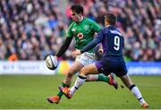 9 February 2019; Joey Carbery in action against Greig Laidlaw during the Guinness Six Nations Rugby Championship match between Scotland and Ireland at the BT Murrayfield Stadium in Edinburgh, Scotland. Photo by Brendan Moran/Sportsfile