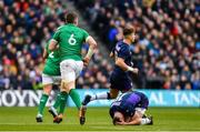 9 February 2019; Peter O'Mahony of Ireland and Stuart Hogg of Scotland after colliding during the Guinness Six Nations Rugby Championship match between Scotland and Ireland at the BT Murrayfield Stadium in Edinburgh, Scotland. Photo by Ramsey Cardy/Sportsfile