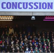 9 February 2019; A concussion advert during the Guinness Six Nations Rugby Championship match between Scotland and Ireland at the BT Murrayfield Stadium in Edinburgh, Scotland. Photo by Ramsey Cardy/Sportsfile