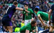 9 February 2019; Conor Murray passes to Ireland teammate Joey Carbery, left, during the Guinness Six Nations Rugby Championship match between Scotland and Ireland at the BT Murrayfield Stadium in Edinburgh, Scotland. Photo by Ramsey Cardy/Sportsfile
