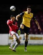 9 February 2019; John Dunleavy of Sligo Rovers in action against Adam Evans of Longford Town during the Pre-Season Friendly match between Longford Town and Sligo Rovers at City Calling Stadium in Longford. Photo by Sam Barnes/Sportsfile