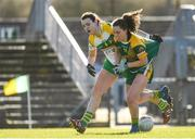 10 February 2019; Emma Duggan of Meath in action against Sarah Cummins of Offaly during the Lidl Ladies Football National League Division 3 Round 2 match between Meath and Offaly at Páirc Tailteann in Navan, Meath. Photo by Eóin Noonan/Sportsfile