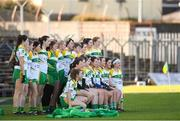 10 February 2019; Offaly players stand for their team photo ahead of the Lidl Ladies Football National League Division 3 Round 2 match between Meath and Offaly at Páirc Tailteann in Navan, Meath. Photo by Eóin Noonan/Sportsfile