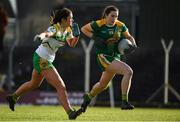 10 February 2019; Catriona Keoghan of Meath is tackled by Katie Kehoe of Offaly during the Lidl Ladies Football National League Division 3 Round 2 match between Meath and Offaly at Páirc Tailteann in Navan, Meath. Photo by Eóin Noonan/Sportsfile