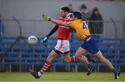 10 February 2019; Luke Connolly of Cork in action against Gordon Kelly of Clare during the Allianz Football League Division 2 Round 3 match between Clare and Cork at Cusack Park in Ennis, Clare. Photo by Sam Barnes/Sportsfile