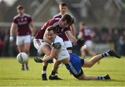 10 February 2019; Jack McCarron of Monaghan in action against Jonathan Duane of Galway during the Allianz Football League Division 1 Round 3 match between Monaghan and Galway at Inniskeen in Monaghan. Photo by Daire Brennan/Sportsfile