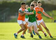 10 February 2019; Michael Newman of Meath is tackled by Jemar Hall of Armagh  during the Allianz Football League Division 2 Round 3 match between Meath and Armagh at Páirc Tailteann in Navan, Meath. Photo by Eóin Noonan/Sportsfile