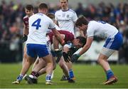 10 February 2019; Jonathan Duane of Galway in action against Monaghan players, left to right, Ryan Wylie, Ryan McAnespie, and Darren Hughes during the Allianz Football League Division 1 Round 3 match between Monaghan and Galway at Inniskeen in Monaghan. Photo by Daire Brennan/Sportsfile