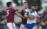 10 February 2019; Neil McAdam of Monaghan in action against Jonathan Duane, left, and Gary O'Donnell of Galway during the Allianz Football League Division 1 Round 3 match between Monaghan and Galway at Inniskeen in Monaghan. Photo by Daire Brennan/Sportsfile