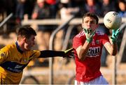 10 February 2019; Mark Collins of Cork in action against Conall Ó hAiniféin of Clare during the Allianz Football League Division 2 Round 3 match between Clare and Cork at Cusack Park in Ennis, Clare. Photo by Sam Barnes/Sportsfile